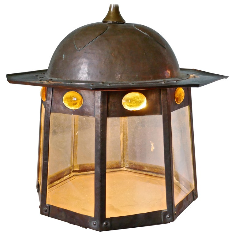 Large Arts & Crafts Beaten Copper Hall Lantern Ceiling Light For Sale