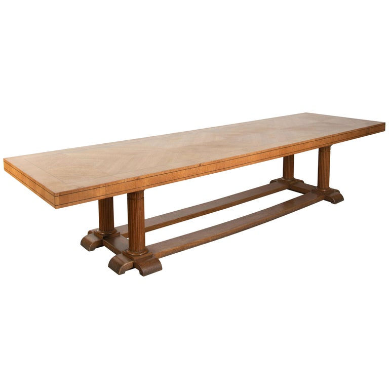 Large Arts & Crafts English Oak Refectory Dining Table For Sale
