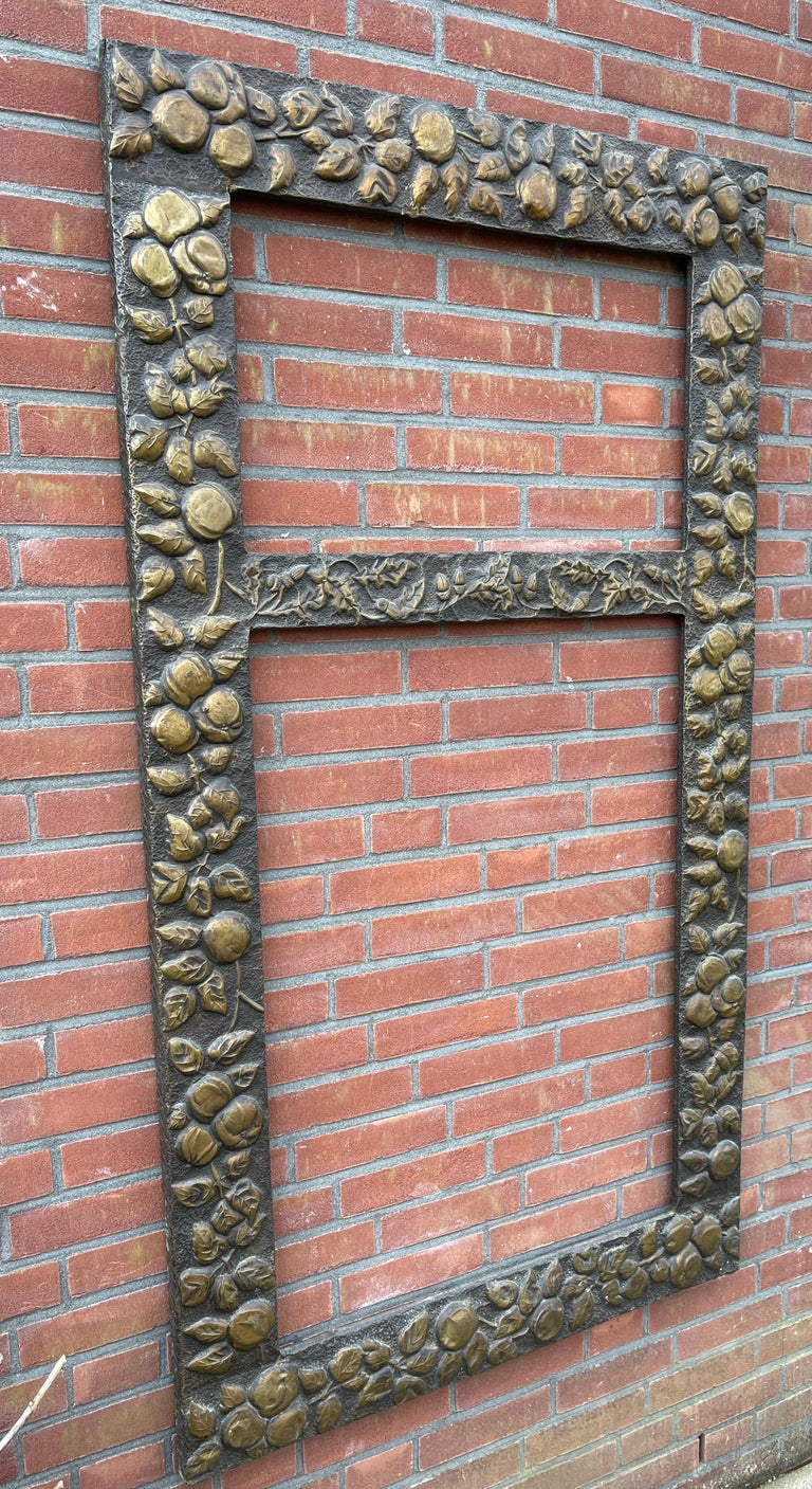 Large Arts & Crafts Hand-Hammered & Embossed Brass Wall Mirror or Picture Frame For Sale 5
