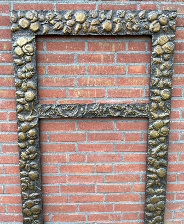 Large Arts & Crafts Hand-Hammered & Embossed Brass Wall Mirror or Picture Frame For Sale 6