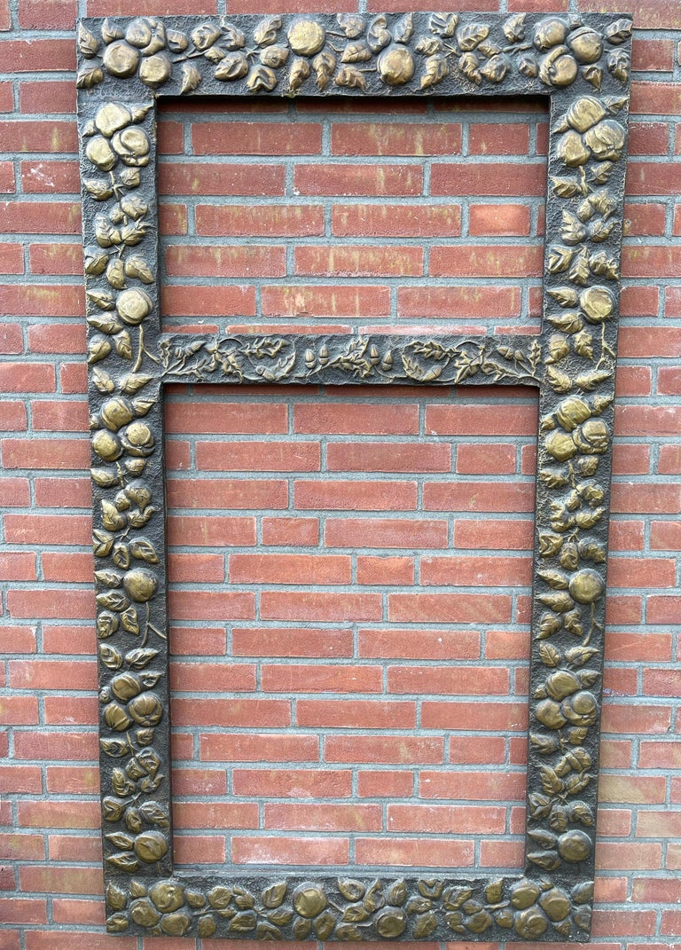 Large Arts & Crafts Hand-Hammered & Embossed Brass Wall Mirror or Picture Frame For Sale 14
