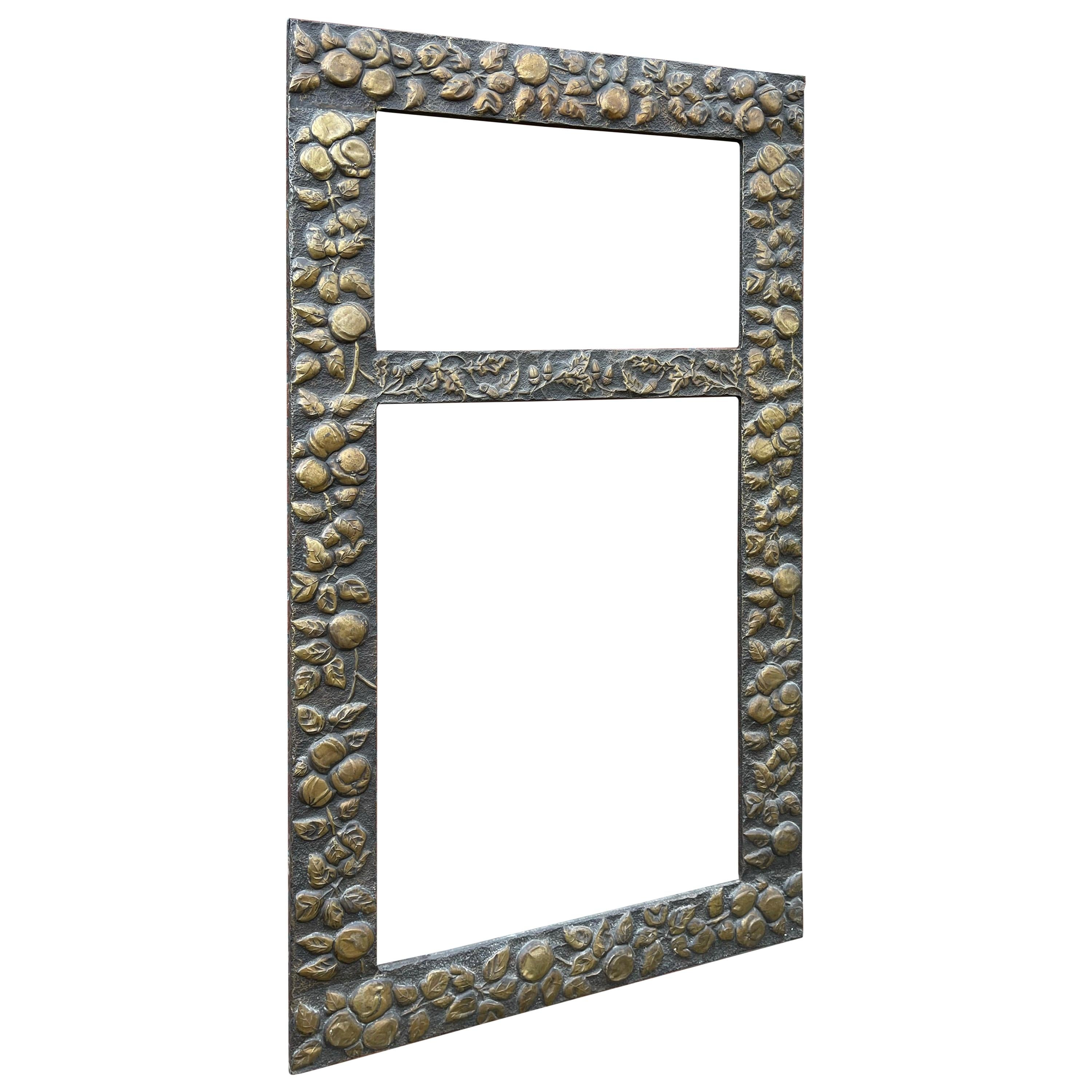 Large Arts & Crafts Hand-Hammered & Embossed Brass Wall Mirror or Picture Frame