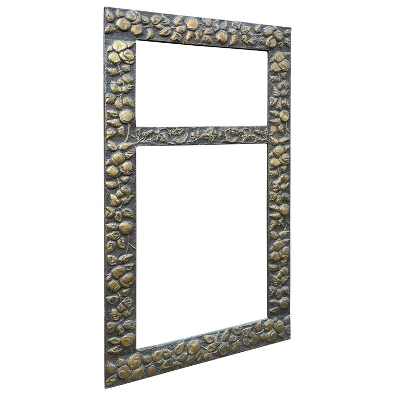 Large Arts & Crafts Hand-Hammered & Embossed Brass Wall Mirror or Picture Frame For Sale