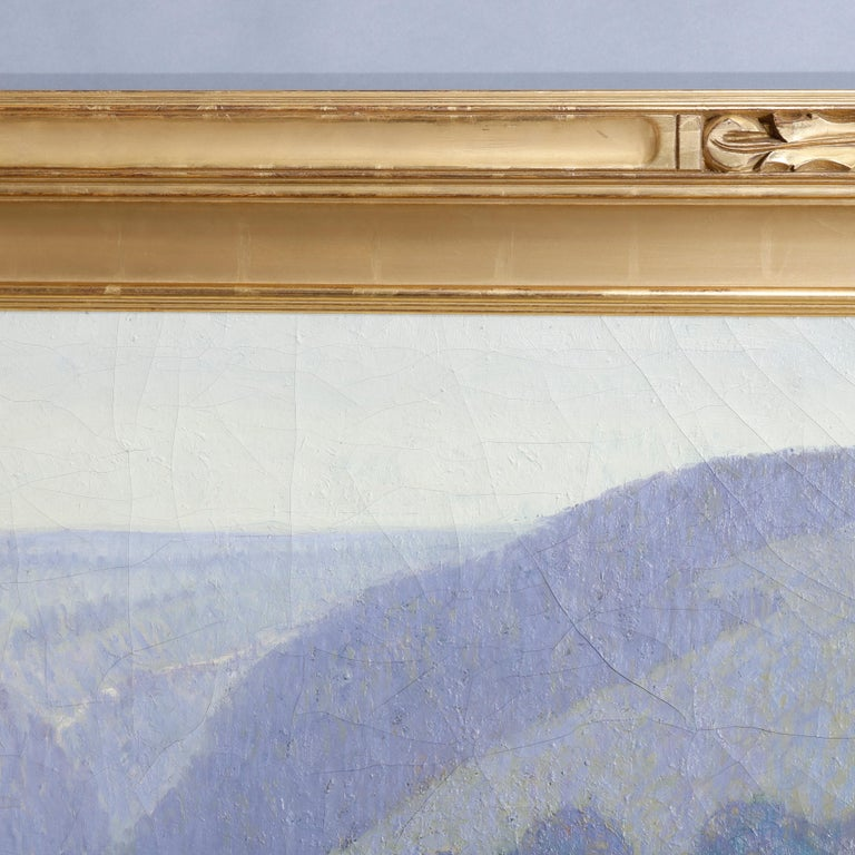 Giltwood Large Arts & Crafts Impressionist Landscape Painting by Geo.Elmer Browne For Sale