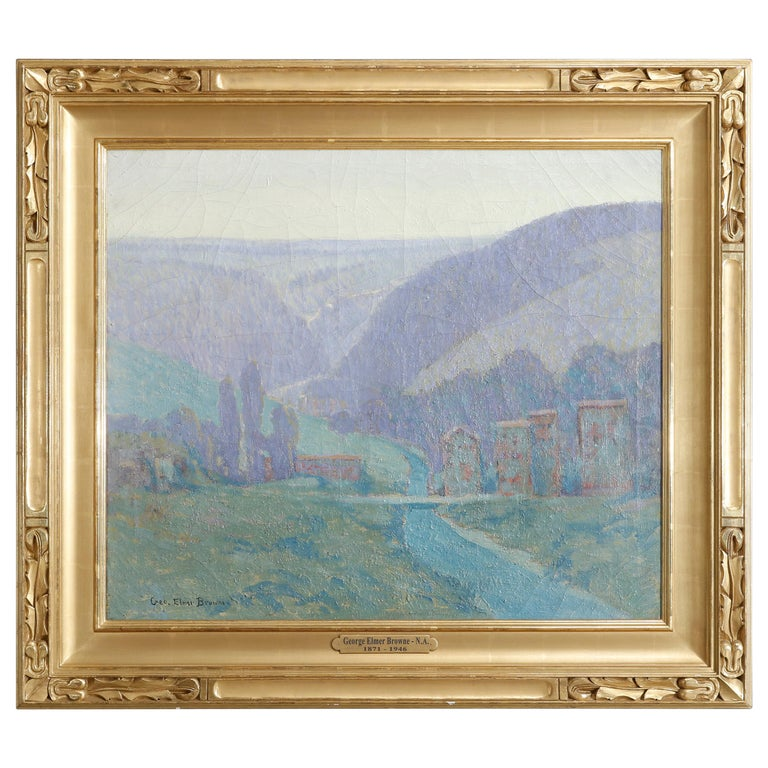 Large Arts & Crafts Impressionist Landscape Painting by Geo.Elmer Browne For Sale