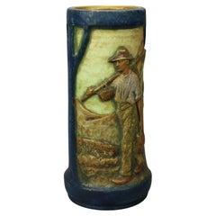 "Large Arts Nouveau Elvir Otto ""Brittany Farmers"" Amphora Pottery Vase, 1910"