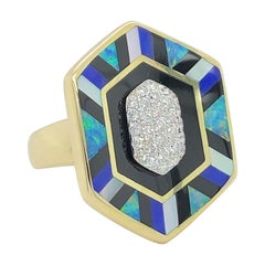 Large Asch Grossbardt Inlaid Gold & Diamond Ring