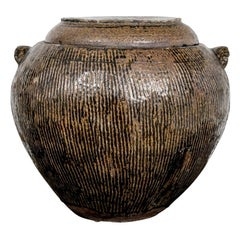 Large Asian Brown Glazed Ceramic Lidded Water Jar