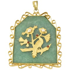 Large Asian Motif Bird and Floral Pendant