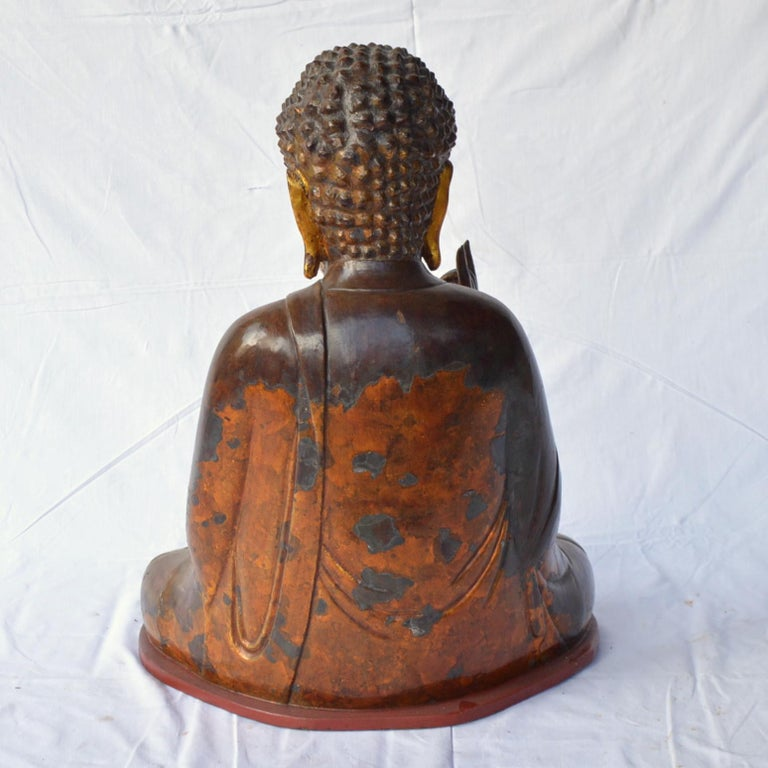 Large Asian Patinated and Gilt Buddha Sculpture For Sale 5