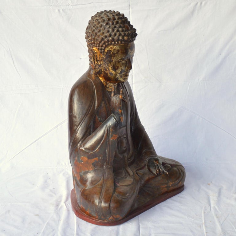 20th Century Large Asian Patinated and Gilt Buddha Sculpture For Sale