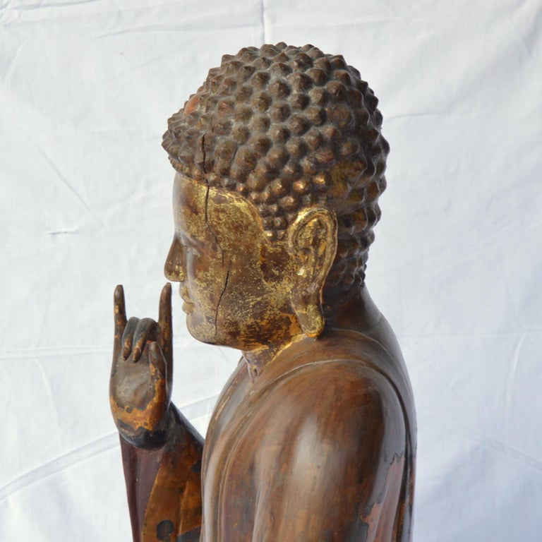 Large Asian Patinated and Gilt Buddha Sculpture For Sale 1