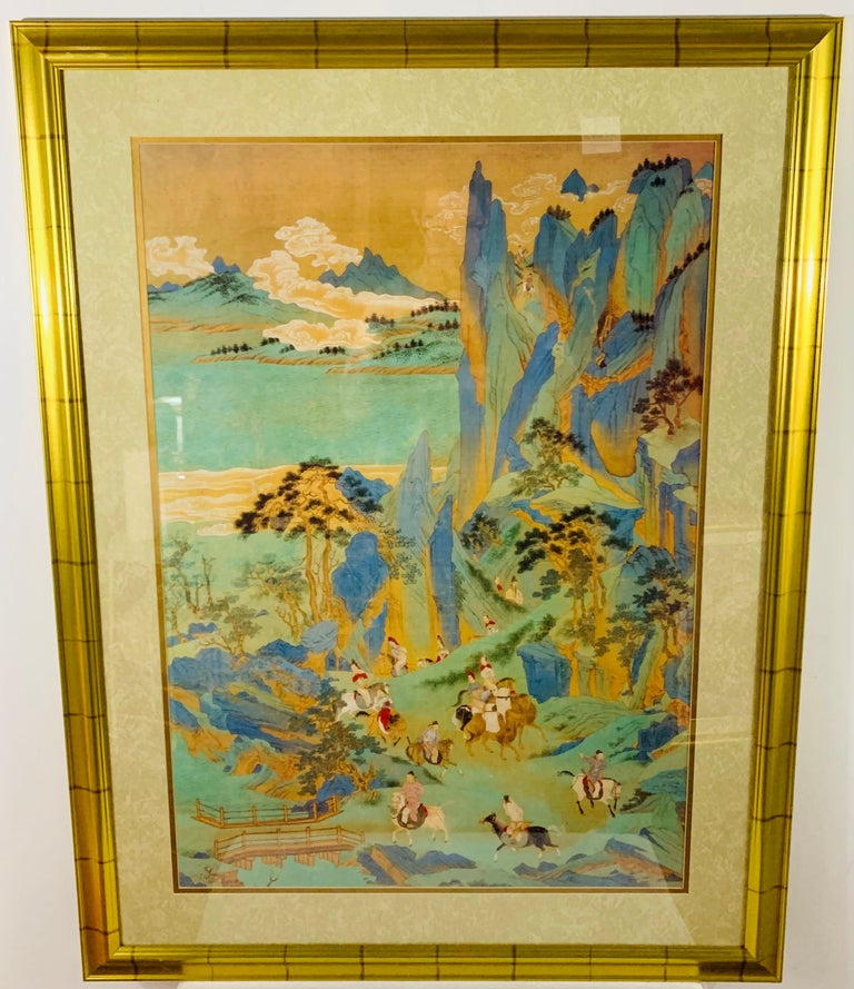 A large Asian poster wonderfully framed and matted. This highly decorative print has been spectacularly matted and framed as it is certain to draw mass attention to any wall setting.  Note: the painting is under glass, therefore the pictures could