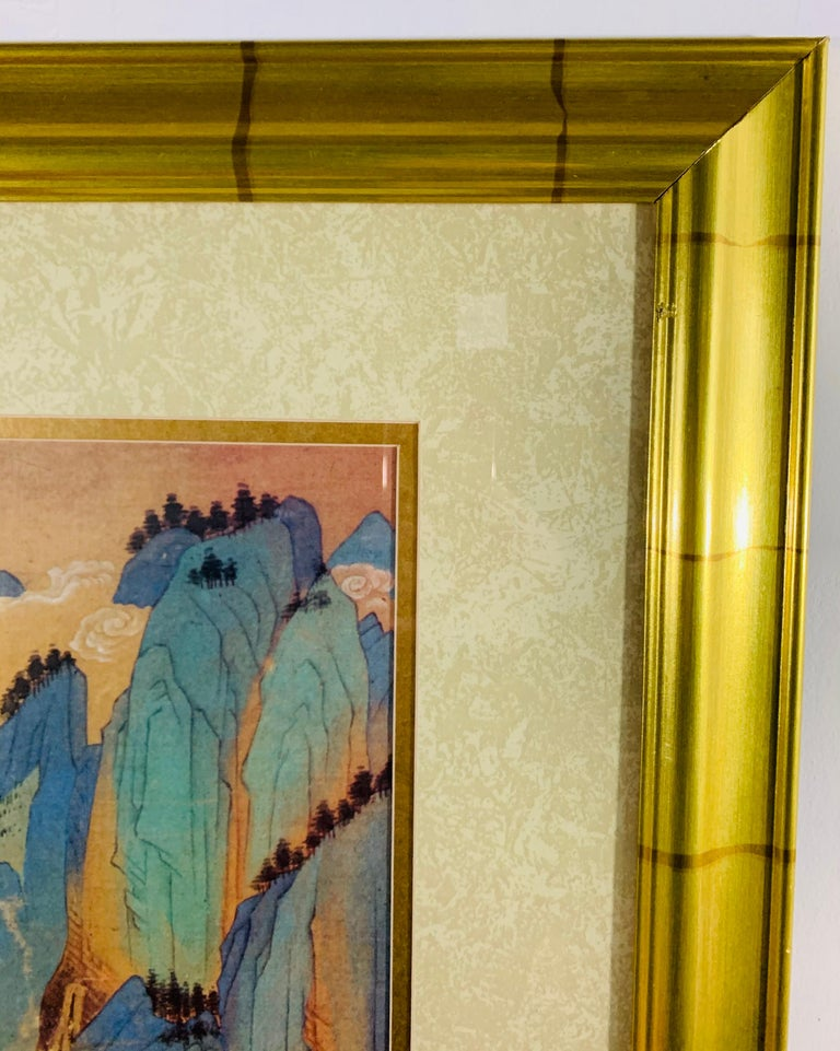 Modern Large Asian Poster Framed and Matted in a Gilt Frame For Sale