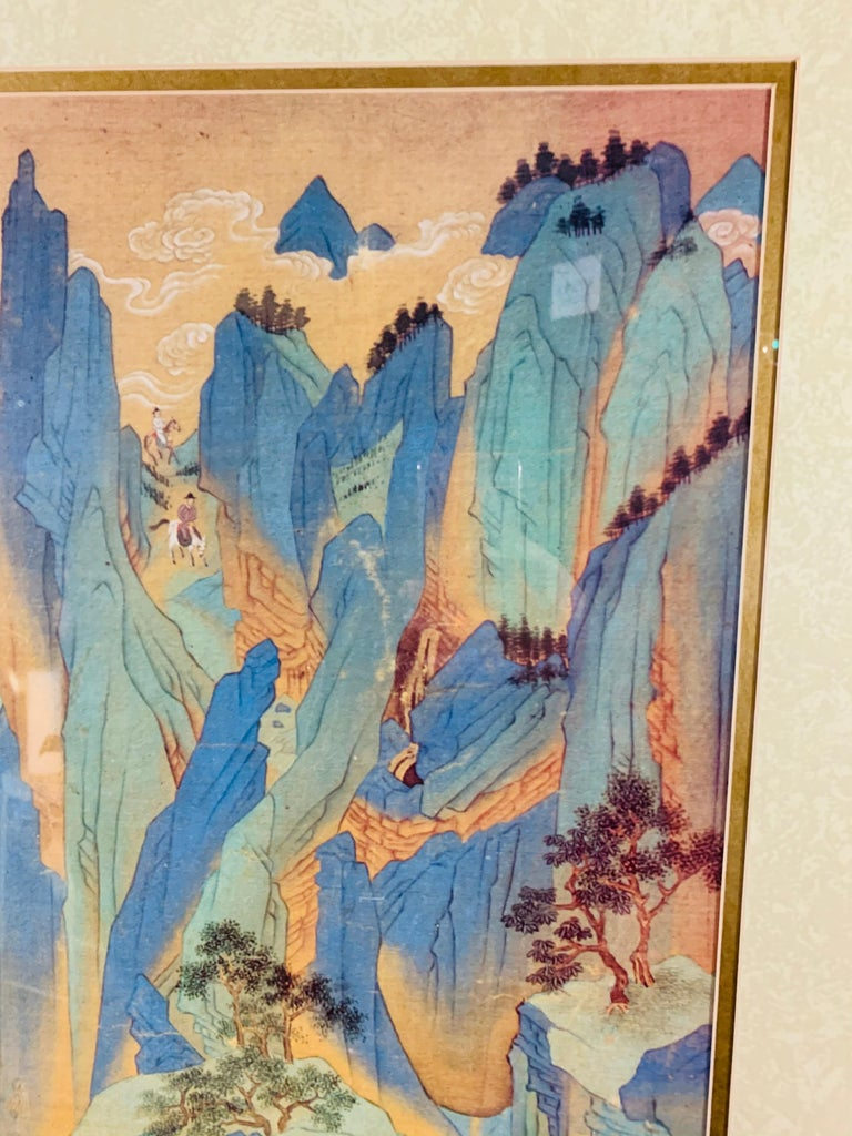Glass Large Asian Poster Framed and Matted in a Gilt Frame For Sale