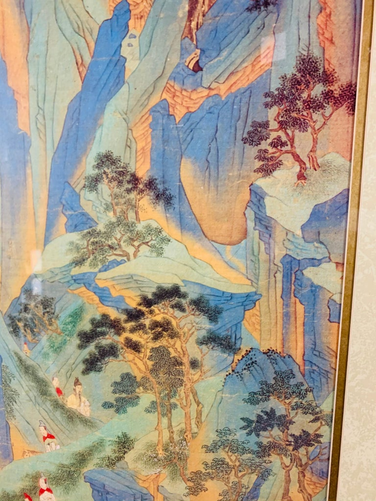 Large Asian Poster Framed and Matted in a Gilt Frame For Sale 1