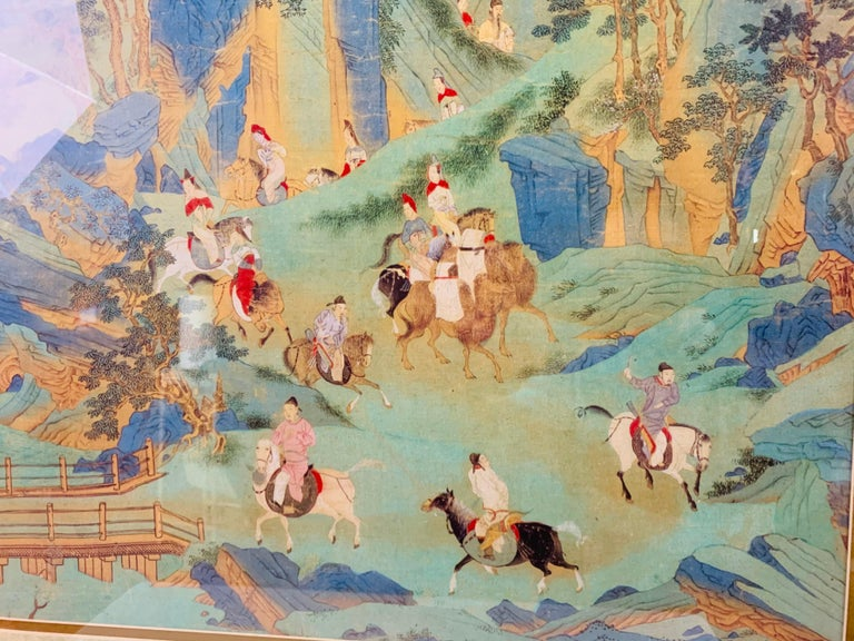 Large Asian Poster Framed and Matted in a Gilt Frame For Sale 3