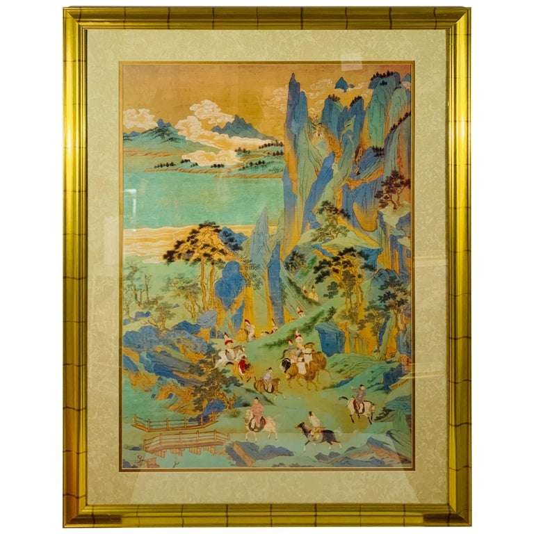 Large Asian Poster Framed and Matted in a Gilt Frame For Sale
