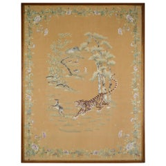 "Large Asian Silk Embroidery Tapestry, ""Tiger Hunting Deer"", Indochina circa 1890"
