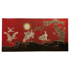 Large Asian Wall Panel with Cranes, 1990s