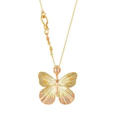 Large Asterope Pave White Diamond Butterfly Hinge Necklace