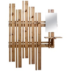 Large Asymmetric Pine Wall Coat rack with integrated Mirror, France, 1960s