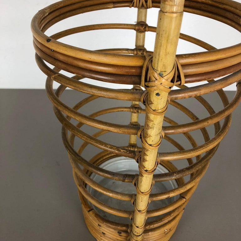 Large Midcentury Rattan Bauhaus Umbrella Stand, France, 1970s For Sale 5