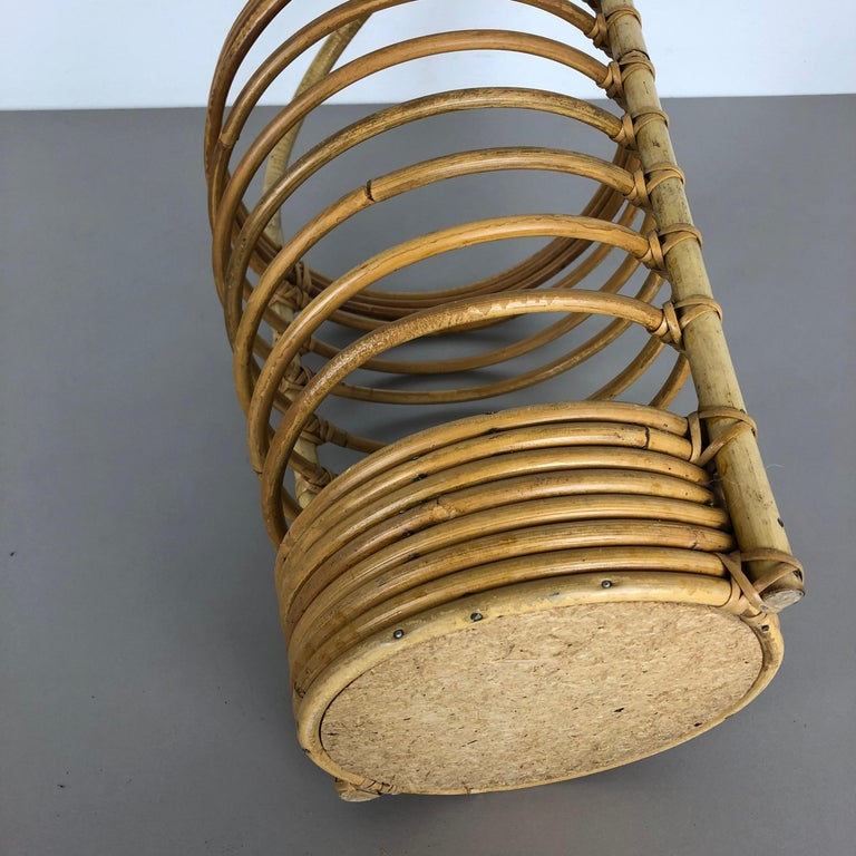 Large Midcentury Rattan Bauhaus Umbrella Stand, France, 1970s For Sale 12