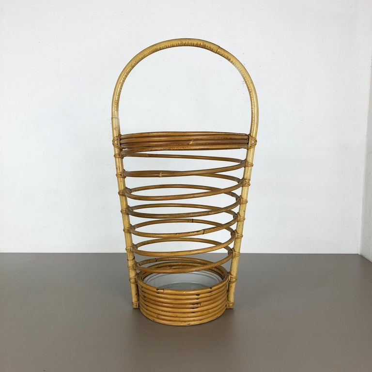 French Large Midcentury Rattan Bauhaus Umbrella Stand, France, 1970s For Sale