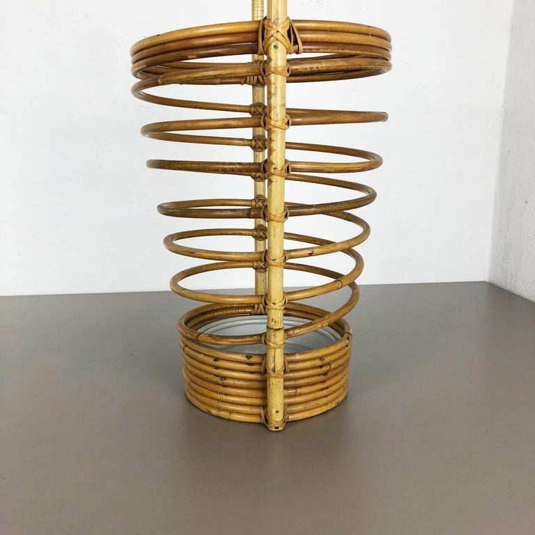 20th Century Large Midcentury Rattan Bauhaus Umbrella Stand, France, 1970s For Sale