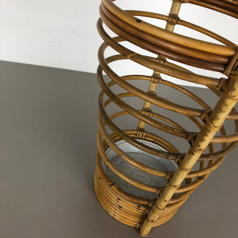 Large Midcentury Rattan Bauhaus Umbrella Stand, France, 1970s For Sale 1
