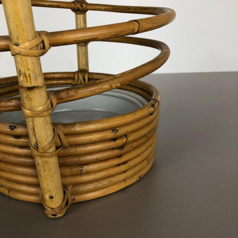 Large Midcentury Rattan Bauhaus Umbrella Stand, France, 1970s For Sale 4