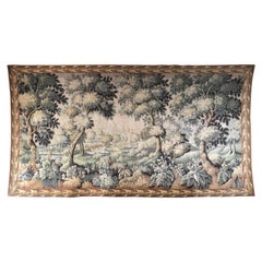 Large Aubusson Pastoral Verdure Tapestry or Wall Hanging 12 ft. W x 6 ft. H
