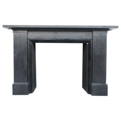 Large Austere Restored Antique Victorian Black Marble Fireplace Surround