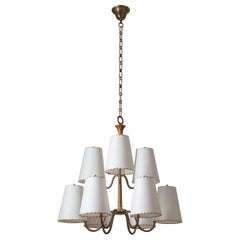 Large Austrian Chandelier, 1930s, Brass, Wood and Paper Shades