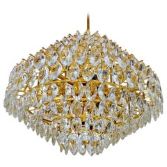 Very Large Bakalowits Gilded Crystal Chandelier,  Glass Pendant Light, 1960s