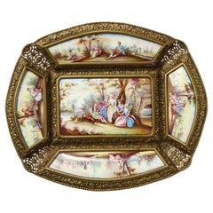 Large Austrian Hand Painted Viennese Enamel-Mounted Gilt-Metal Tray