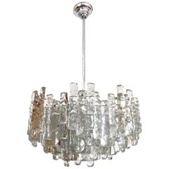 Large Austrian Midcentury Ice-Glass Chandelier by Kalmar, 1970s