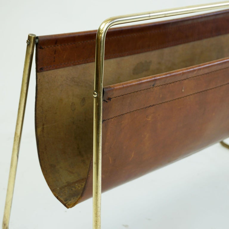 Large Austrian Midcentury Leather and Brass Magazine Rack by Carl Auböck For Sale 5