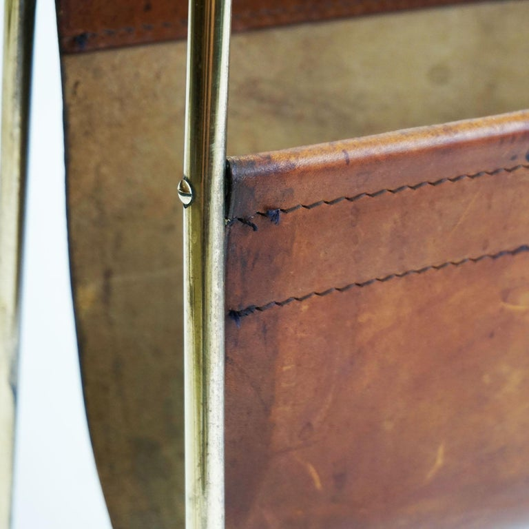 Large Austrian Midcentury Leather and Brass Magazine Rack by Carl Auböck For Sale 6