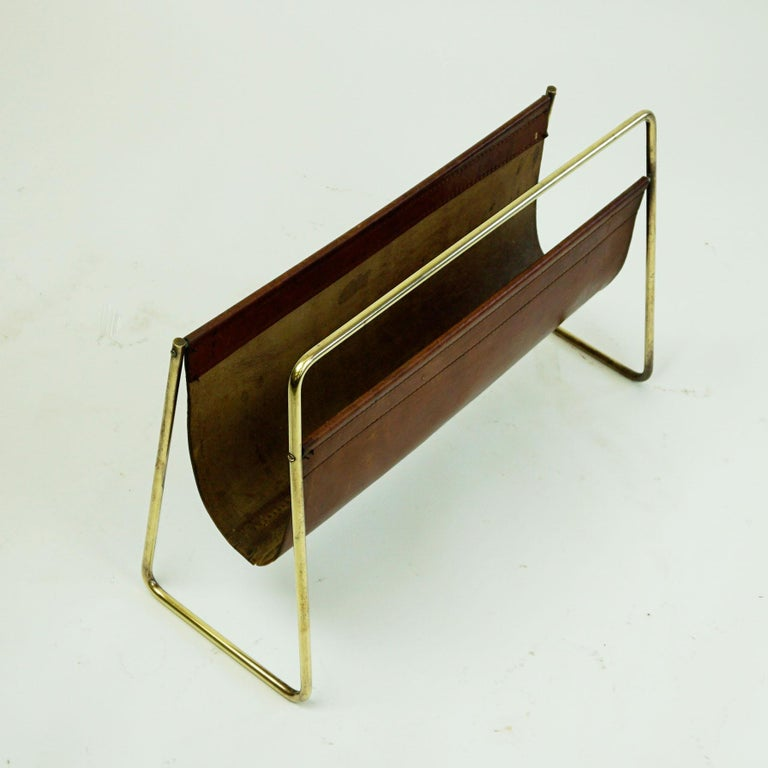 Mid-20th Century Large Austrian Midcentury Leather and Brass Magazine Rack by Carl Auböck For Sale