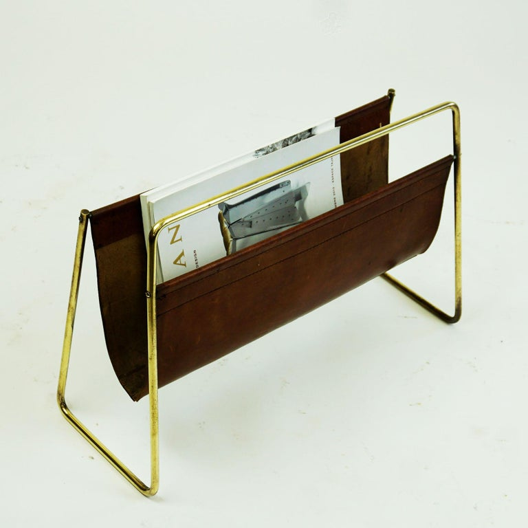 Large Austrian Midcentury Leather and Brass Magazine Rack by Carl Auböck For Sale 3