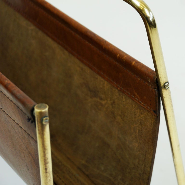 Large Austrian Midcentury Leather and Brass Magazine Rack by Carl Auböck For Sale 4