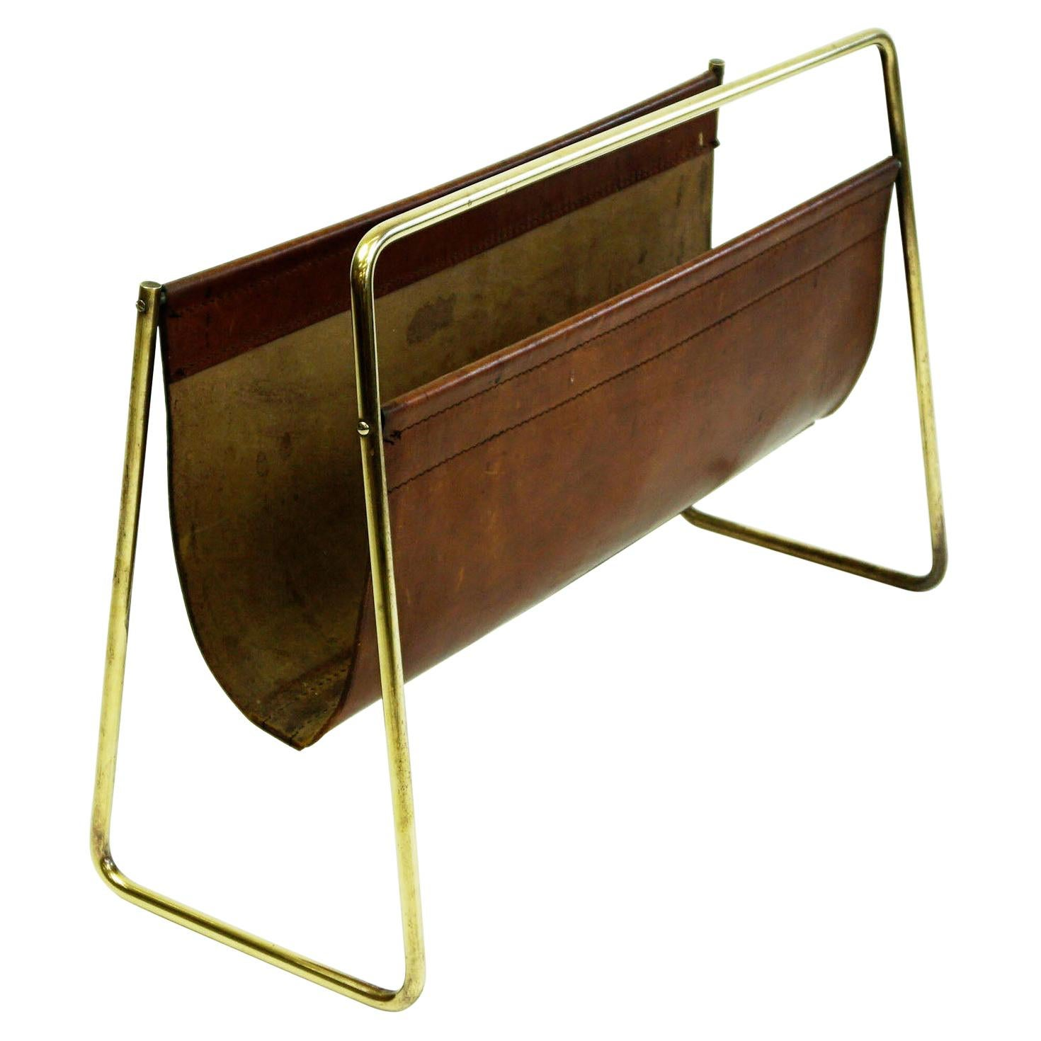 Large Austrian Midcentury Leather and Brass Magazine Rack by Carl Auböck