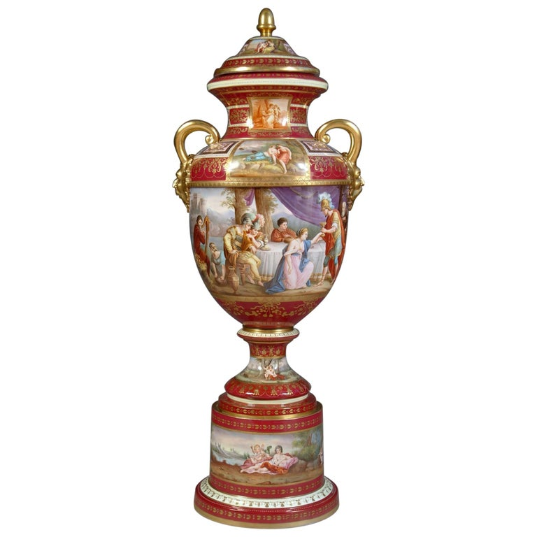 Large Austrian Royal Vienna Style Porcelain Hand Painted Baluster Vase For Sale