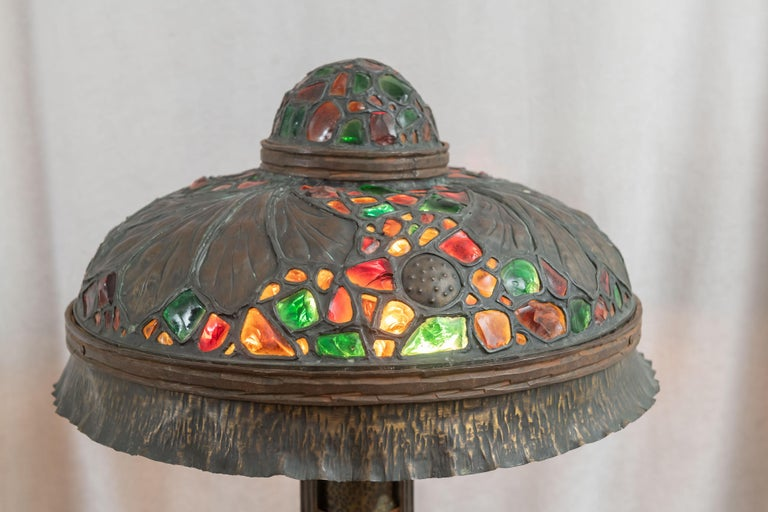 Large Austrian Secessionist/Arts &Crafts Chunk Jewel Table Lamp, ca. 1900 For Sale 3