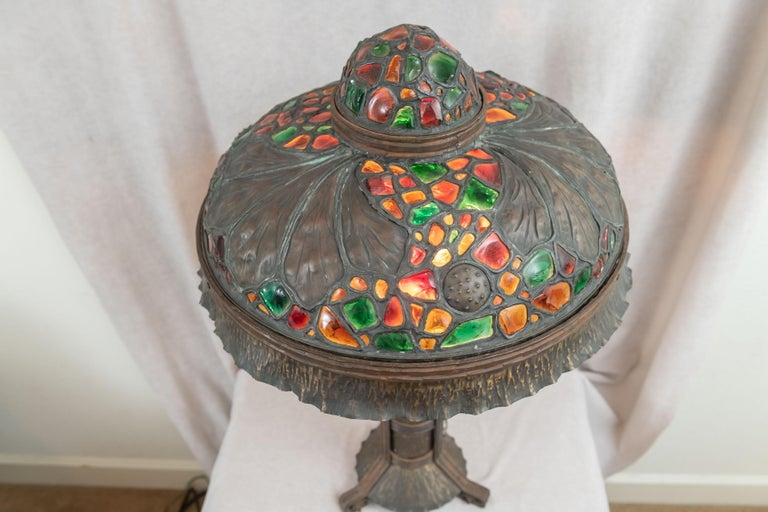 Large Austrian Secessionist/Arts &Crafts Chunk Jewel Table Lamp, ca. 1900 For Sale 4