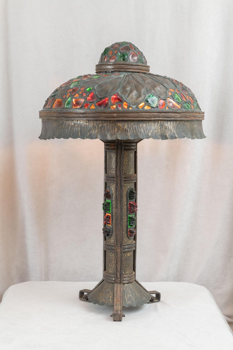 Large Austrian Secessionist/Arts &Crafts Chunk Jewel Table Lamp, ca. 1900 For Sale 5