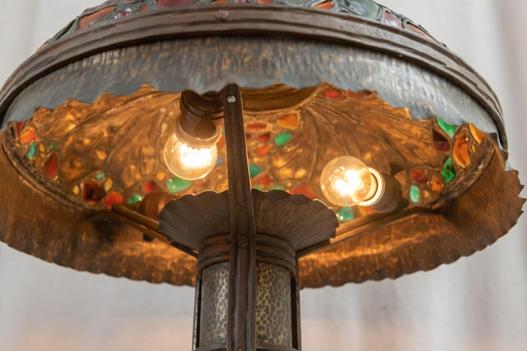 Large Austrian Secessionist/Arts &Crafts Chunk Jewel Table Lamp, ca. 1900 For Sale 6