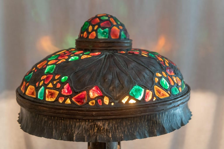 Vienna Secession Large Austrian Secessionist/Arts &Crafts Chunk Jewel Table Lamp, ca. 1900 For Sale